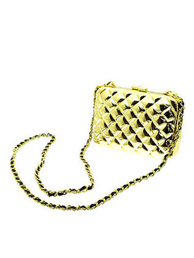 BAG ACCESSORY / METAL BAG / PURSE / CUSHION PATTERN / METAL CHAIN / LINK / 5 1/2 INCH WIDE / 4 INCH TALL / NICKEL AND LEAD COMPLAINT