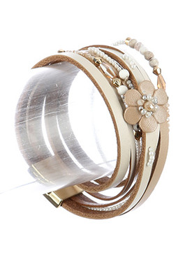 Bracelet / Multi Strand / Faux Leather Wraparound / Natural Stone Finish Bead / Mini Pearl / Metallic Bead / Flower / Magnetic Closure / 15 Inch Long / Nickel And Lead Compliant