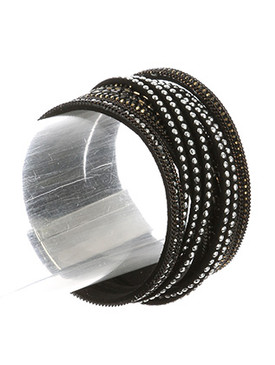 Bracelet / Draped Multi Strand / Faux Leather Band / Metallic Studs / Pave Crystal Stone / Multi Chain / Magnetic Closure / 7 1/2 Inch Long / 1 1/2 Inch Tall / Nickel And Lead Compliant
