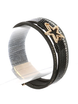 Bracelet / Multi Strand / Faux Leather Band / Cutout Metal Star / Hammered / Pave Crystal Stone / Box Chain / Magnetic Closure / 7 1/2 Inch Long / 3/4 Inch Tall / Nickel And Lead Compliant