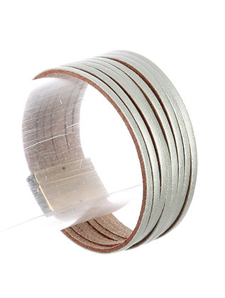 Bracelet / Multi Strand / Faux Leather Band / Metallic Finish / Magnetic Closure / 7 1/2 Inch Long / 1 Inch Tall / Nickel And Lead Compliant