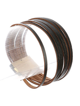 Bracelet / Multi Strand / Faux Leather Band / Magnetic Closure / 7 1/2 Inch Long / 1 Inch Tall / Nickel And Lead Compliant