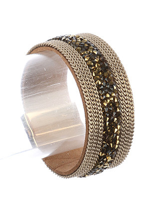Bracelet / Iridescent Stone Chips / Faux Leather Band / Multi Chain / Magnetic Closure / 7 1/2 Inch Long / 1 Inch Tall / Nickel And Lead Compliant