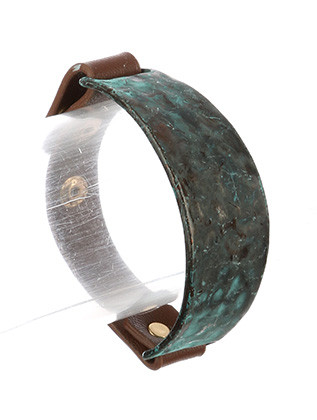 Bracelet / Hammered Metal / Faux Leather Band / Aged Finish / Curved Metal / Snap Button Closure / Adjustable Size / 2 1/4 Inch Diameter / 1 Inch Tall / Nickel And Lead Compliant