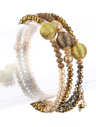 Bracelet / Iridescent Micro Bead / Coil Wire / Metallic Balls / Metallic Bead / Metallic Tassel / 2 1/4 Inch Diameter / 3/4 Inch Tall / Nickel And Lead Compliant