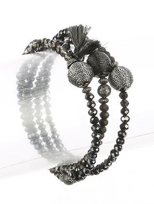 Bracelet / Iridescent Micro Bead / Coil Wire / Metallic Balls / Metallic Bead / Metallic Tassel / 2 1/4 Inch Diameter / 3/4 Inch Tall / Nickel And Lead Compliant