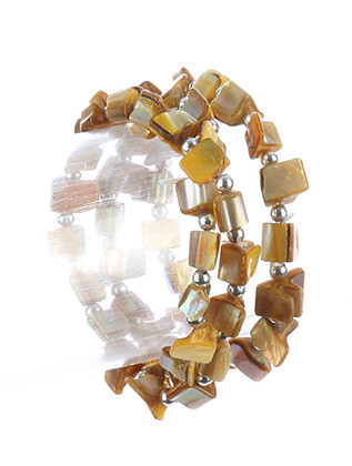 Bracelet / Natural Stone Finish / 3Pc Stretch / Metallic Bead / 2 1/4 Inch Diameter / Nickel And Lead Compliant