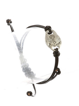 Bracelet / Matte Finish Metal / Adjustable Message / Believe / Key Etched / Hammered / Double Strand / Faux Rubber Cord / 2 Inch Diameter / 1/2 Inch Tall / Nickel And Lead Compliant
