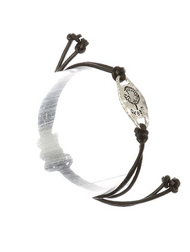 Bracelet / Matte Finish Metal / Adjustable Message / Dream / Dandelion Etched / Hammered / Double Strand / Faux Rubber Cord / 2 Inch Diameter / 1/2 Inch Tall / Nickel And Lead Compliant