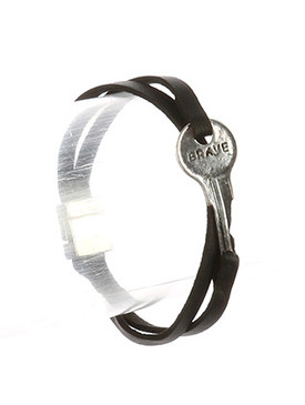 Bracelet / Aged Finish Metal / Message Key / Brave / Double Strand / Faux Leather / Magnetic Closure / 7 1/2 Inch Long / 1/2 Inch Tall / Nickel And Lead Compliant