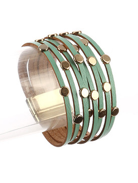 Bracelet / Multi Strand / Faux Leather Band / Metallic Studs / Magnetic Closure / 7 1/2 Inch Long / 1 1/4 Inch Tall / Nickel And Lead Compliant