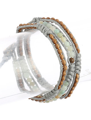 Bracelet / Double Cord / Beaded Wraparound / Natural Stone Finish / Wooden Bead / Knotted Cord / Button Hook Closure / 21 Inch Long / Nickel And Lead Compliant