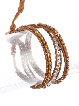 Bracelet / Double Cord / Beaded Wraparound / Iridescent Glass Bead / Metallic Bead / Wooden Bead / Knotted Cord / Button Hook Closure / 21 Inch Long / Nickel And Lead Compliant