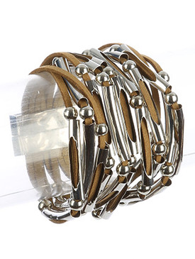 Bracelet / Multi Strand / Faux Leather Band / Hollow Metallic Bead / Magnetic Closure / 7 1/2 Inch Long / 1 1/2 Inch Tall / Nickel And Lead Compliant