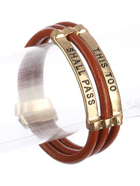 Bracelet / Three Strand / Faux Rubber Message / This Too Shall Pass / Matte Finish Metal / Magnetic Closure / 7 1/2 Inch Long / 7/8 Inch Tall / Nickel And Lead Compliant