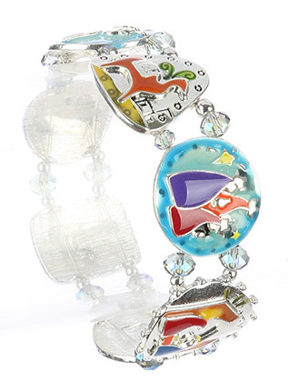 Bracelet / Epoxy Coated Metal / Christmas Stretch / Angel / Donkey / Wisemen / Manger / Shepherd / Hammered / Metallic / Iridescent Glass Bead / Holidays / Winter / 2 1/3 Inch Diameter / 1 Inch Tall / Nickel And Lead Compliant