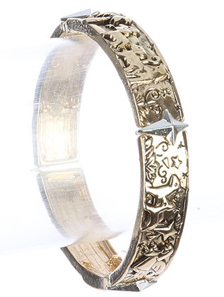 Bracelet / Aged Finish Metal / Christmas Stretch / Segmented / Textured / Two Tone / Angel / Wisemen / Baby Jesus In Manger / Christmas Star / Holidays / Winter / 2 1/3 Inch Diameter / 3/8 Inch Tall / Nickel And Lead Compliant