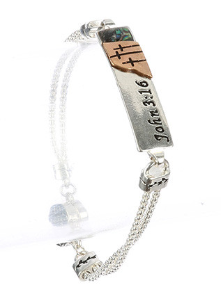 Bracelet / Scripture Metal Plate / Double Box Chain / John 3:16 / Cross / Two Tone / Dandelion / Cross Charm / Magnetic Closure / 7 1/2 Inch Long / 1/3 Inch Tall / Nickel And Lead Compliant