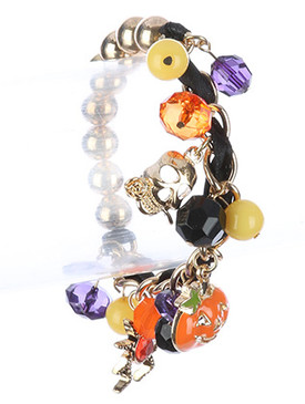 Bracelet / Epoxy Coated Metal / Halloween Charm Stretch / Skull / Pumpkin / Spider / Metallic / Lucite Bead / Chain / Ribbon / 2 1/4 Inch Diameter / 1 Inch Drop / Nickel And Lead Compliant