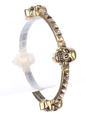 Bracelet / Aged Finish Metal / Skull Stretch / Segmented Spike Bar / Textured / Halloween / 2 1/3 Inch Diameter / 5/8 Inch Tall / Nickel And Lead Compliant