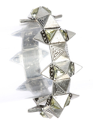 Bracelet / Age Finish Metal / Spike Stretch / Glass Stone / Etched / 2 1/3 Inch Diameter / 1 1/4 Inch Tall / Nickel And Lead Compliant
