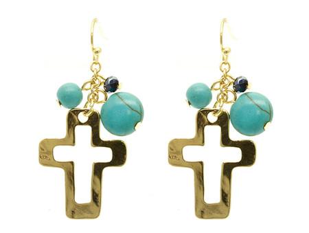 Glass Bead Cross Earrings - Gold