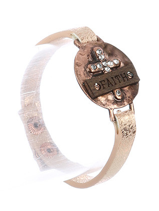 Bracelet / Cross Message / Faux Leather Band / Faith / Wooden Plate / Metallic Finish Band / Matte Finish Metal / Hammered / Pave Crystal Stone / Snap Button Closure / 7 1/2 Inch Long / 1 Inch Tall / Nickel And Lead Compliant