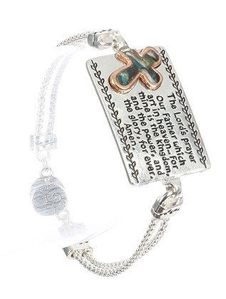 Bracelet / Message Metal Plate / Double Box Chain / The Lords Prayer / Two Tone / Cross / Magnetic Closure / 7 1/2 Inch Long / 7/8 Inch Tall / Nickel And Lead Compliant