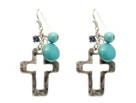 Glass Bead Cross Earrings - Silver
