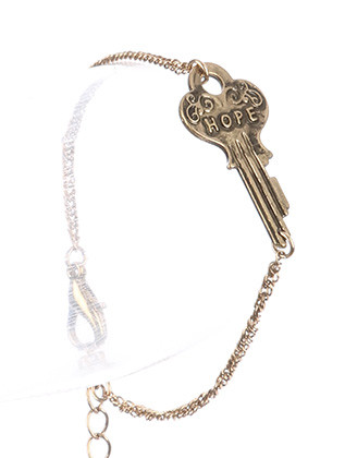 Bracelet / Aged Finish Metal / Message Key Chain / Hope / 7 Inch Long / 5/8 Inch Tall / Nickel And Lead Compliant