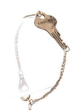 Bracelet / Aged Finish Metal / Message Key Chain / Courage / 7 Inch Long / 5/8 Inch Tall / Nickel And Lead Compliant