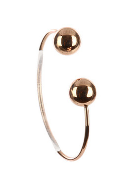 Bracelet / Double Metal Ball / Brass Cuff / 2 5/8 Inch Diameter / 1/2 Inch Tall / Nickel And Lead Compliant