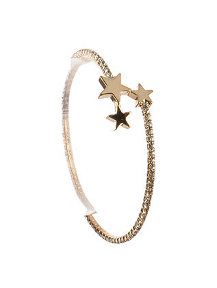 Bracelet / Rhinestone / Coil Wire Cuff / Metal Star Charm / 2 1/4 Inch Diameter / 3/8 Inch Tall / Nickel And Lead Compliant