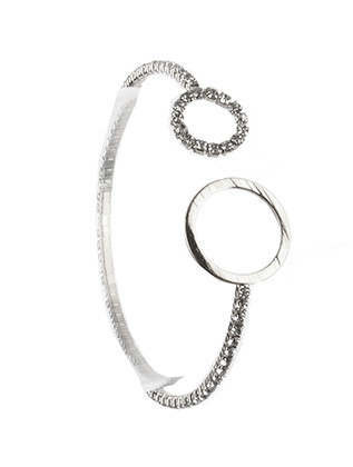 Bracelet / Rhinestone / Coil Wire Cuff / Metal Ring / 2 1/8 Inch Diameter / 2/3 Inch Tall / Nickel And Lead Compliant
