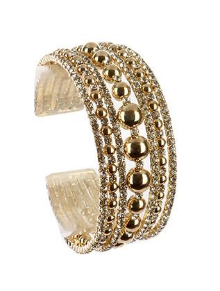 Bracelet / Hollow Metallic Bead / Rhinestone Cuff / Multi Layer / Flexible / 2 1/8 Inch Diameter / 1 Inch Tall / Nickel And Lead Compliant