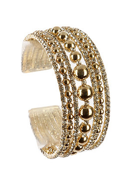Bracelet / Hollow Metallic Bead / Rhinestone Cuff / Multi Layer / Flexible / 2 1/8 Inch Diameter / 1 Inch Tall / Nickel And Lead Compliant