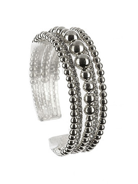 Bracelet / Hollow Metallic Bead / Rhinestone Cuff / Multi Layer / Flexible / 2 1/8 Inch Diameter / 3/4 Inch Tall / Nickel And Lead Compliant