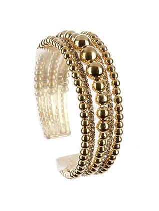 Bracelet / Hollow Metallic Bead / Rhinestone Cuff / Multi Layer / Flexible / 2 1/8 Inch Diameter / 3/4 Inch Tall / Nickel And Lead Compliant