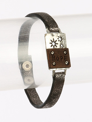 Bracelet / Sunburst Message / Faux Leather Band / Hope / Wooden Plate / Metallic Finish Band / Matte Finish Metal / Hammered / Cutout / Snap Button Closure / 7 1/2 Inch Long / 5/8 Inch Tall / Nickel And Lead Compliant
