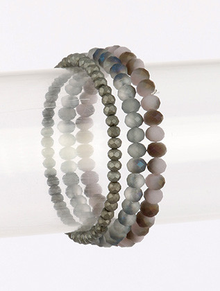 Bracelet / Natural Stone Bead / 3 Pc Stretch / 2 1/8 Inch Diameter / Nickel And Lead Compliant