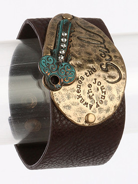 Bracelet / Faux Leather Band / Message / Journey Awakens Soul / Aged Finish Metal / Hammered / Key / Swirl Textured / Crystal Stone / Snap Button Closure / 7 Inch Long / 1 3/4 Inch Tall / Nickel And Lead Compliant