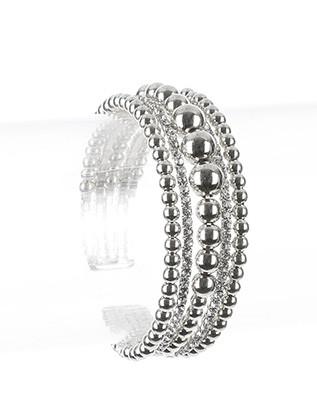 Bracelet / Hollow Metallic Bead / Rhinestone Cuff / Multi Layer / Flexible / 2 Inch Diameter / 3/4 Inch Tall / Nickel And Lead Compliant