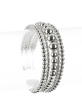 Bracelet / Hollow Metallic Bead / Rhinestone Cuff / Multi Layer / Flexible / 2 Inch Diameter / 3/4 Inch Tall / Nickel And Lead Compliant