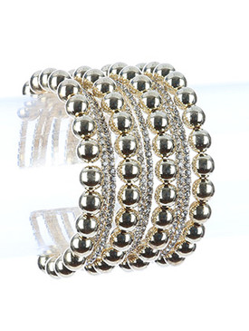 Bracelet / Hollow Metallic Bead / Rhinestone Cuff / Multi Layer / Flexible / 2 Inch Diameter / 1 3/4 Inch Tall / Nickel And Lead Compliant