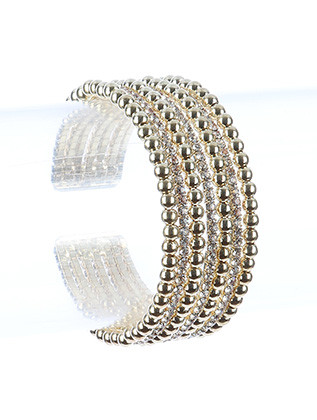 Bracelet / Hollow Metallic Bead / Rhinestone Cuff / Multi Layer / Flexible / 2 Inch Diameter / 1 Inch Tall / Nickel And Lead Compliant