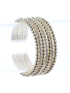 Bracelet / Hollow Metallic Bead / Rhinestone Cuff / Multi Layer / Flexible / 2 Inch Diameter / 1 Inch Tall / Nickel And Lead Compliant