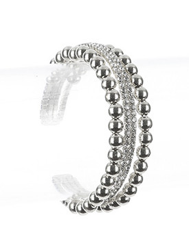 Bracelet / Hollow Metallic Bead / Rhinestone Cuff / Multi Layer / Flexible / 2 Inch Diameter / 5/8 Inch Tall / Nickel And Lead Compliant