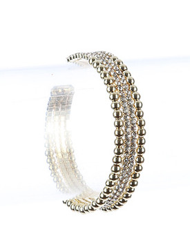 Bracelet / Hollow Metallic Bead / Rhinestone Cuff / Multi Layer / Flexible / 2 Inch Diameter / 3/8 Inch Tall / Nickel And Lead Compliant