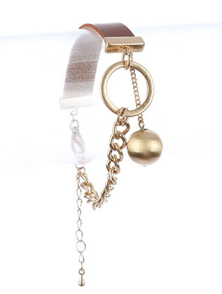 Bracelet / Faux Leather Band / Chain / Metal Ball Charm / Matte Finish Metal / Curb Chain / 7 1/2 Inch Long / 2 Inch Drop / Nickel And Lead Compliant