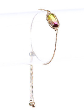 Bracelet / Gradient Glass Stone / Adjustable Chain / Hammered Metal Frame / 6 Inch Long / 1/3 Inch Drop / Nickel And Lead Compliant
